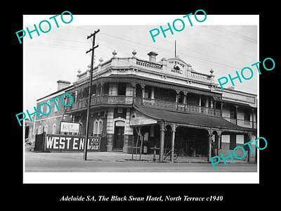 OLD LARGE HISTORICAL PHOTO OF ADELAIDE SA, BLACK SWAN HOTEL, NORTH Tce 1940