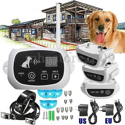 Wireless 3 Dog Fence No-Wire Pet Containment System Rechargeable &Waterproof New