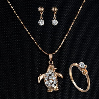 Penguin earring and necklace and ring set for valentines day or mother day gift