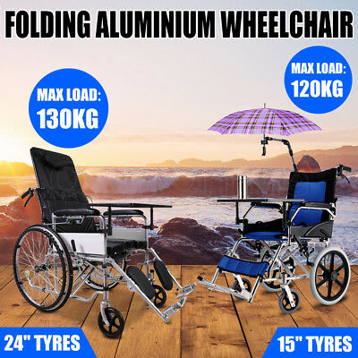 Light Weight Wheelchair Transport Aid Brakes Push Travel Folding Aluminum HOME