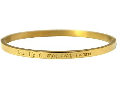 Gemshine Armreif - Love life and enjoy every Moment - Edelstahl vergoldet