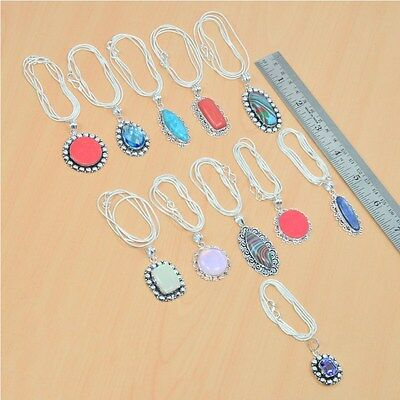 Wholesale 11Pc 925 Silver Plated Coral & Mix Stone Pendant-Chain Necklace Lot