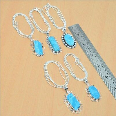 Wholesale 5Pc 925 Silver Plated Treated Blue Larimar Pendant-Chain Necklace Lot