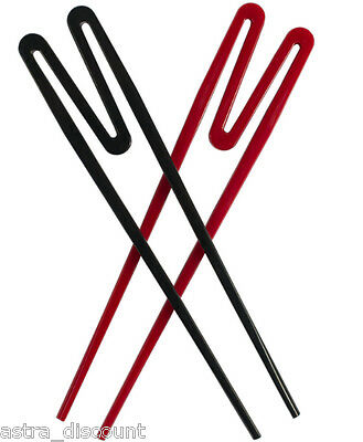 Set Of 2 Chinese Chopsticks Typhoon Easy To Use Training Rookie Stix Red Black