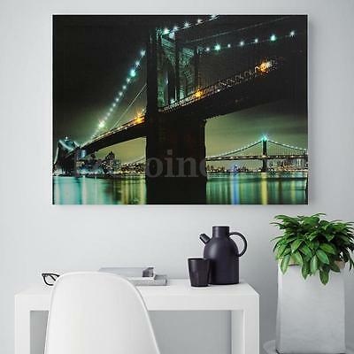 LED Light Up Brooklyn Bridge Canvas Painting Picture Wall Hanging Decor 30x40cm
