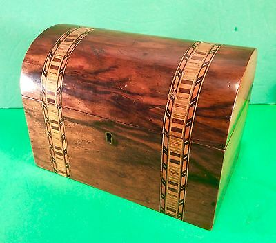 Antique Rosewood Dome Top Humidor Box  W/ Inlay