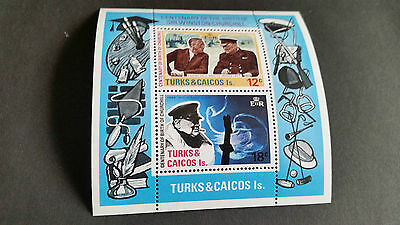 Turks & Caicos Islands 1974 Sg Ms432  Birth Cent Of Churchill Mnh