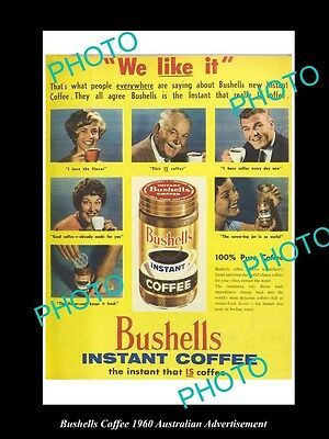 Old Large Historic Australian Bushells Instant Coffee Advertisement Photo, 1960