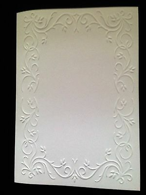 5 Blank A6 White Embossed Cards/Envelopes/Sleeves - Scroll Frame No 2