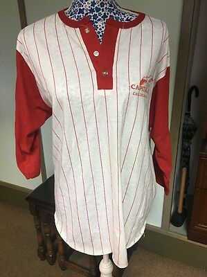 Vintage American Baseball Shirt Jersey red stripe CAPITOLA CALIFORNIA Size Large