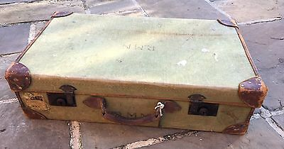 Vintage Naval Suitcase Canvas And Leather 1952 Functioning Locks & Key