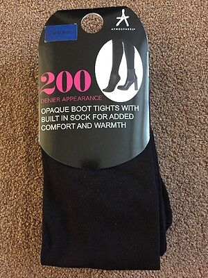 BNIP Atmosphere Black Opaque Boot Tights With Built In Sock 200 Denier Size Med