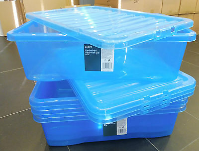 4 plastic underbed storage boxes with lids, 32L