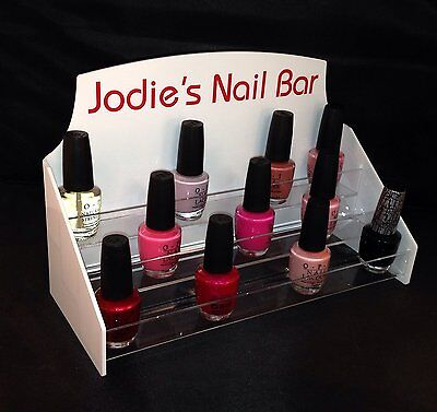Personalised Nail Polish Display Stand In White Acrylic With Clear Acrylic Shelv