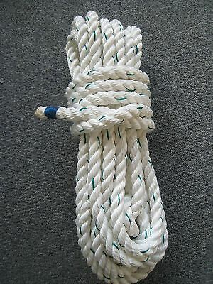 10 Metres of 3 strand 14mm white & green rope with whipped ends