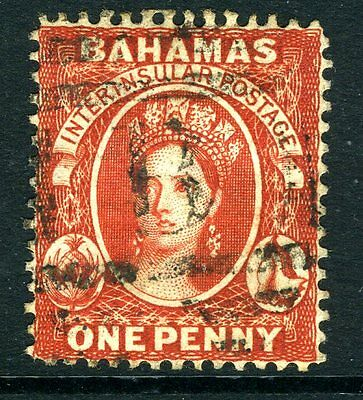 BAHAMAS-1882 1d Scarlet-Vermilion, Perf 14 with Reversed Watermark GOOD USED