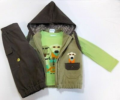 Pequilino baby boys top gilet trouser outfitset 6-12 month bnwts