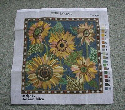 TAPESTRY KIT- BLUE SUNFLOWER DANCE. By PRIMAVERA. Cushion. Complete & unused