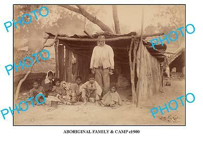 OLD ABORIGINAL LARGE PHOTO, FAMILY AT CAMP c1900