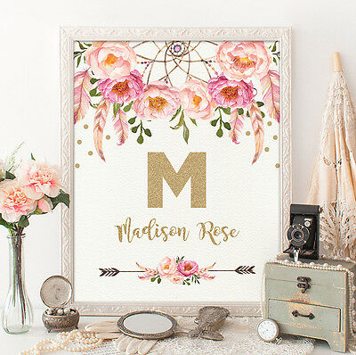 A4 Pink Gold Boho Nursery Art Print Floral Dreamcatcher Monogram UNFRAMED