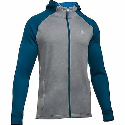 Under Armour Hoodie Tech Terry Fitted Grau/Blau Reisverschluss Pullover Kapuze