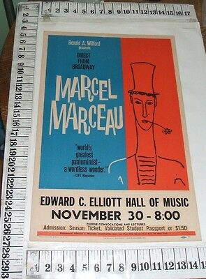 Marcel Marceau 1960 Window Card Poster Purdue University Elliott Hall Of Music