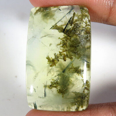 52.30CT Natural Black Needle In Prehnite Rectangle Cabochon Aura.gems