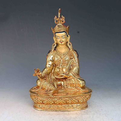 Chinese Brass gilt Hand painted Face Carved  Padmasambhava Statues