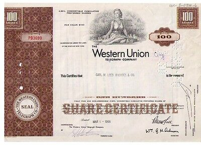 Aktie: The Western Union Telegraph Company geändert in Corp. 100 Shares v. 1966