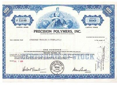 Aktie: Precision Polymers, Inc. 100 shares von 1970