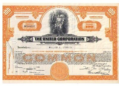 Aktie: THE UNITED CORPORATION 100 Shares von 1950
