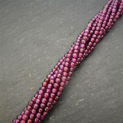 "Garnet 1.5-2mm Plain Round Beads 15"" Strand Semi Precious Gemstone"