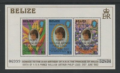 BELIZE 1982 BIRTH OF PRINCE WILLIAM OF WALES MIN SHEET (1st) *MNH**