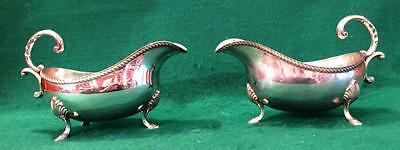 Heavy pair of silver sauce boats by A.E.Jones Birmingham 1975