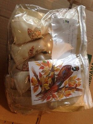 12 embroidered napkins and rings ring neck pheasant