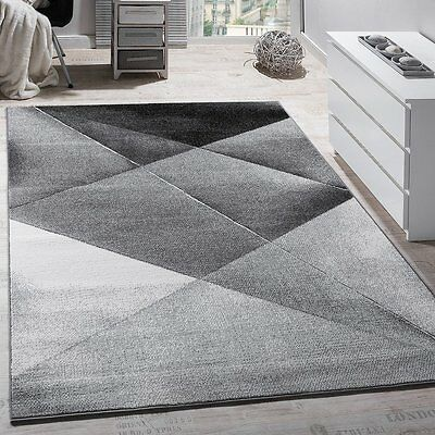 Modern Rug Living Room Carpet Grey Black White Style Elegant Design Runner Gift