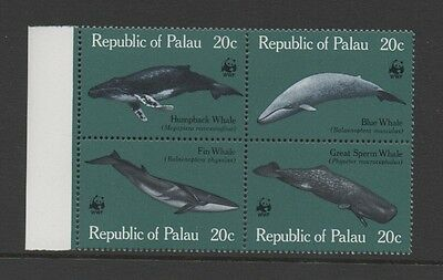 Palau 1983 Wwf. Whales. Se-Tenant Block Of Four *mint Never Hinged*