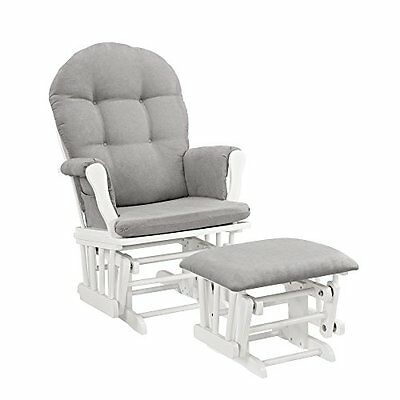 Windsor Glider and Ottoman White with Gray Cushion