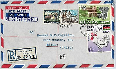 59499  KENYA - POSTAL HISTORY: REGISTERED COVER to ITALY 1965  ELEPHANTS Chicken