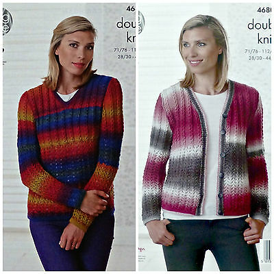 KNITTING PATTERN Ladies V-Neck Lace Rib Jumper& Cardigan DK King Cole 4680