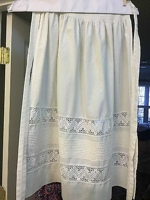 Austrian dirndl apron with tucking and lace inserts euro size 36 - 100 % cotton