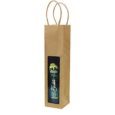 Pack Of 20 Brown Paper Kraft Wine Champagne Bottle Gift Bags With Window