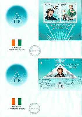 Georg Ohm Science Physics Electricity Radio Ivory Coast first day covers FDC set