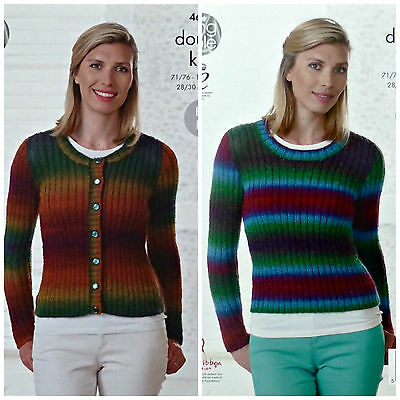 KNITTING PATTERN Ladies Easy Knit Ribbed Cardigan & Jumper DK King Cole 4681