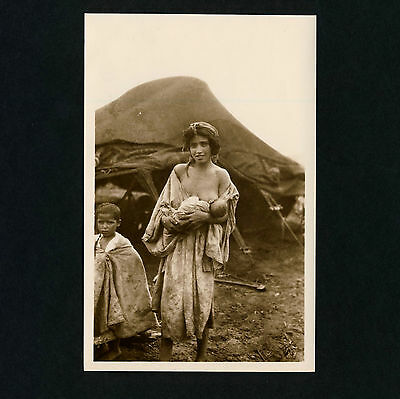 N Africa BREASTFEEDING YOUNG ARAB MOTHER * Vintage 1920s Ethnic Nude Photo PC