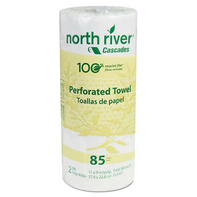 North River Perforated Roll Towels, 2-Ply, 11 x 9, 85/Roll, 30/Carton 4073