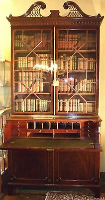 Fine Quality Mahogany George3rd Secretaire Bookcase with Swan Neck Pediment.