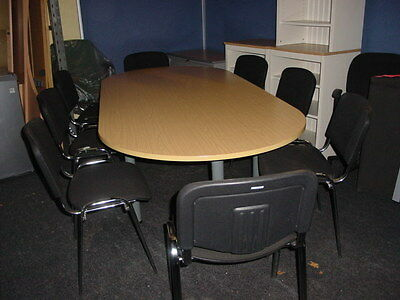 Boardroom / Meeting Room Table and 8 Stackable Chairs