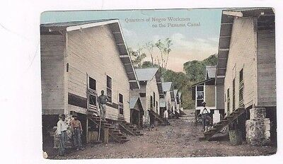 PANAMA antique Canal Zone db post card Quarters of Negro Workmen on the Canal