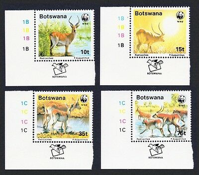 Botswana WWF Red Lechwe 4v Bottom Left Corners SG#648/51 SC#432-35 MI#431-34